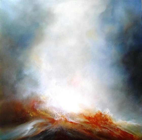 TIDES ARE TURNING (Large abstract seascape/landscape original oil painting)
