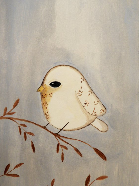 The small bird in white - oil on paper
