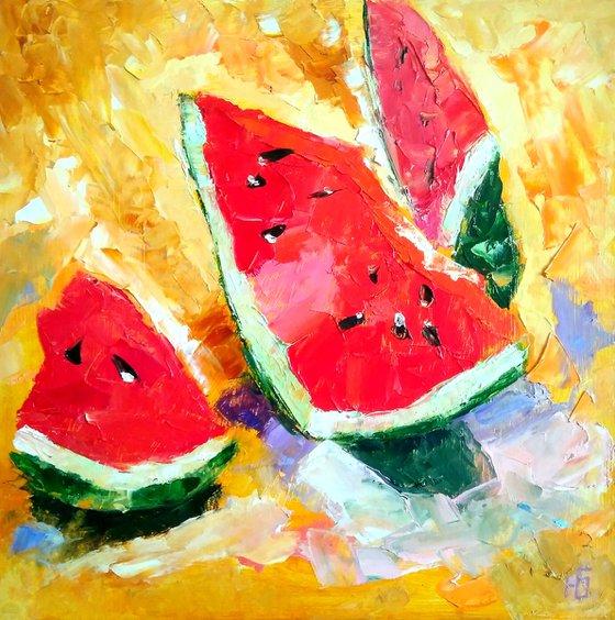 Watermelon Painting Original Art Fruit Artwork Still Life Kitchen Wall Art