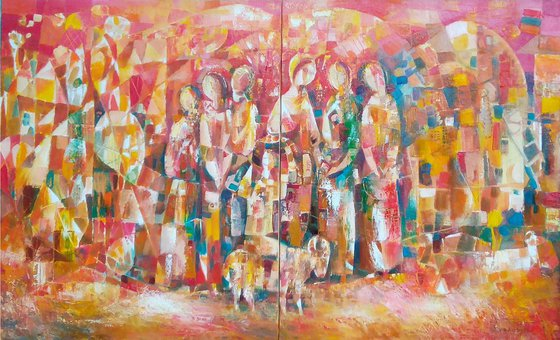 Fete(100x60cm, oil painting, ready to hang)