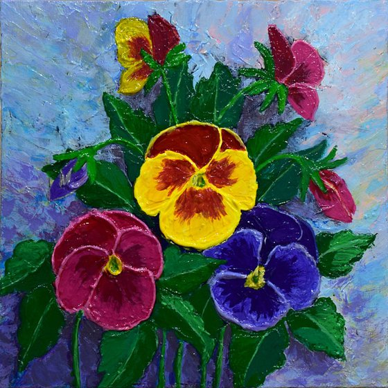 Pansy on Violet  20 X 20 cm impasto impressionism realism painting pansy flowers nature