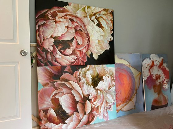 """2 paintings from the series """"paired peonies in brown and light colors"""""""