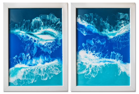 "Diptych ""My ocean"" - set of 2 original seascape 3d artwork, framed, ready to hang"