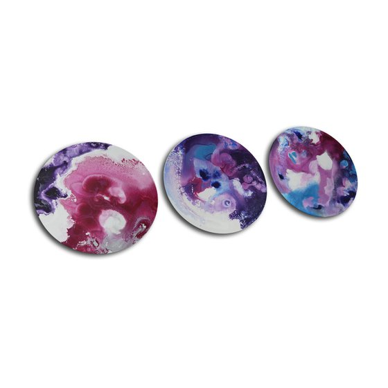 PINK TRIO * SMALL TRIPTYCH * ROUND CANVAS * 30 x 90 cms * WHITE * BLUE * PINK