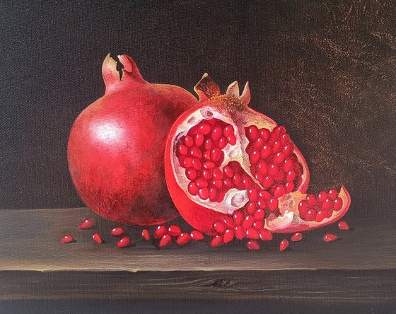 Still life with pomegranate-3 (24x30cm, oil painting, ready to hang)