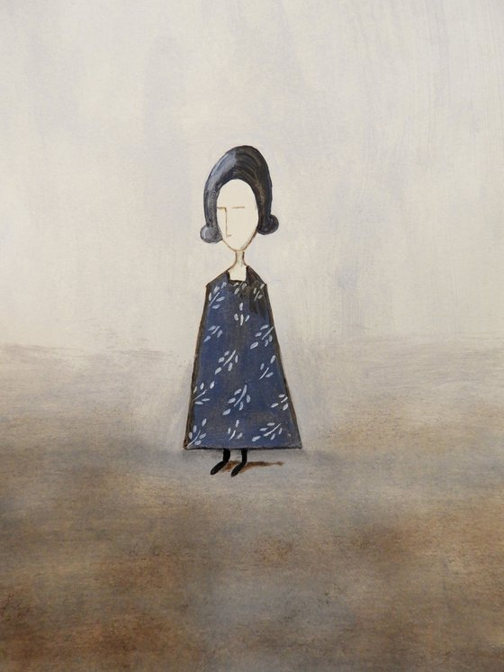 The little Lady in blue - oil on paper
