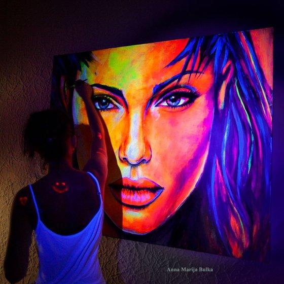Angelina Jolie Portrait Painting GLOW IN THE DARK Painting