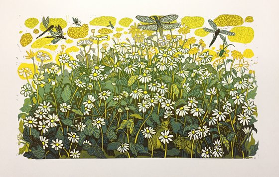 """Linocut print with chamomiles flowers and mouses """"Chamomiles"""" 2020, reduction linocut, 30x50 cm"""