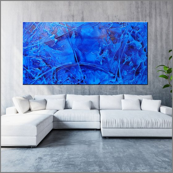 Sapphire Sugar 240cm x 120cm Blue Ink Textured Abstract Art