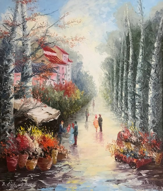 Beautiful day (60x70cm, oil painting, impressionistic, ready to hang)