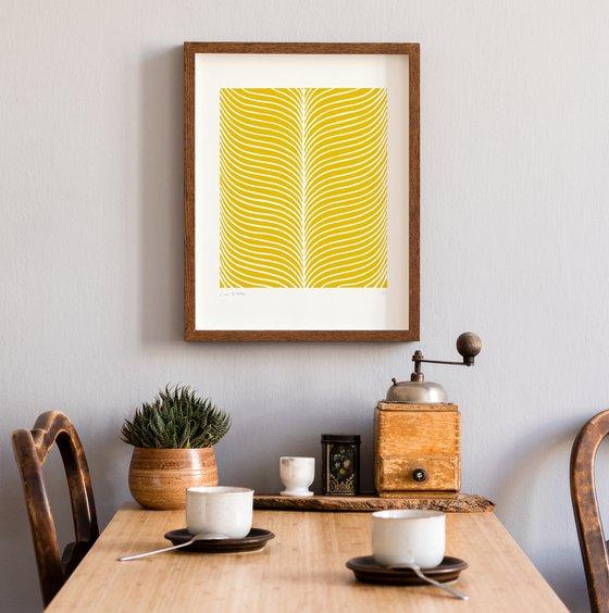 Plume (Yellow Geometric Linocut Print)