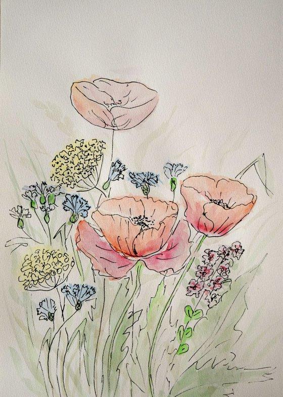 """Watercolour Flower's composition #16""21 х 29.7 (A4 size)"