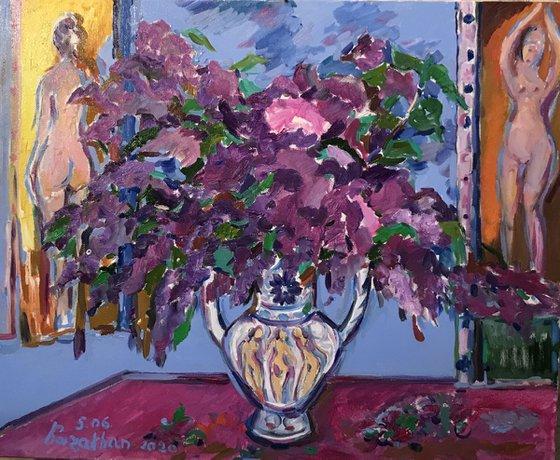 LILAC MORNING - Still-life flowers in vase, original oil paining, medium size, purple flower nude, home interior office decor