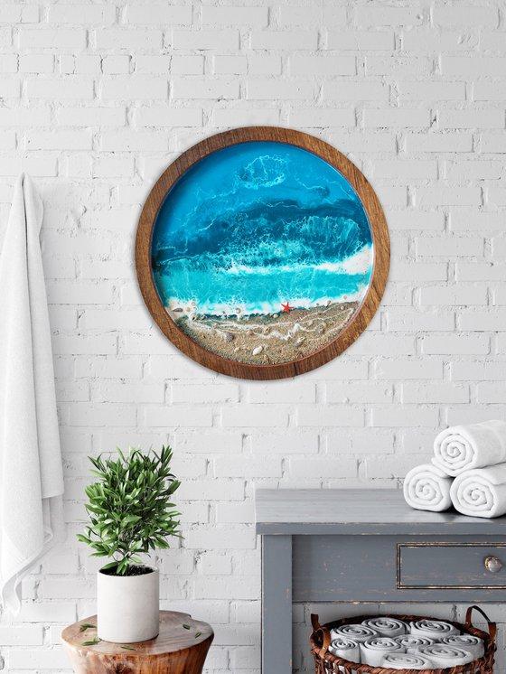 Starfish beach - original seascape 3d resin artwork, framed, ready to hang
