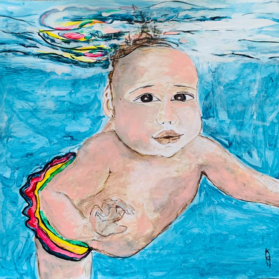 Underwater Painting of Baby Swimming for Home Decor, Child Portrait Art Decor, Artfinder Gift Ideas