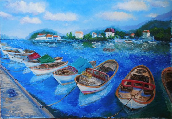 Fishing boats on a sunny day.