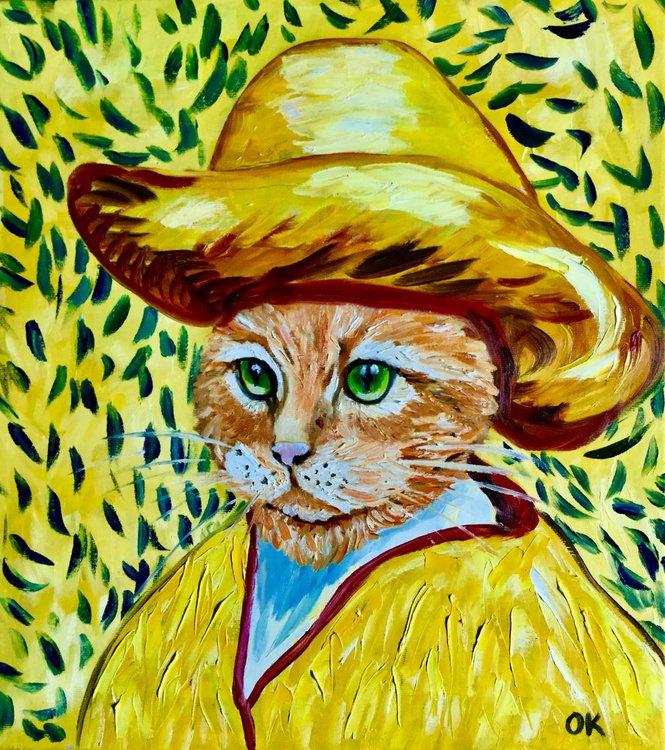 8092e81b Cat La Van Gogh in a yellow hat MODERN HOME WALL DECOR PALETTE KNIFE URBAN  ART FELINE ART FOR CAT LOVERS GIFT IDEA (2019). Oil painting ...