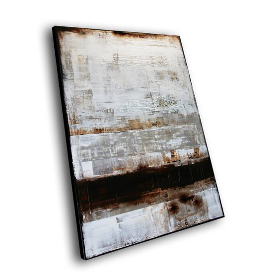 WHITE WALL - 120 X 80 CMS - ABSTRACT PAINTING * WHITE * DARK BROWN