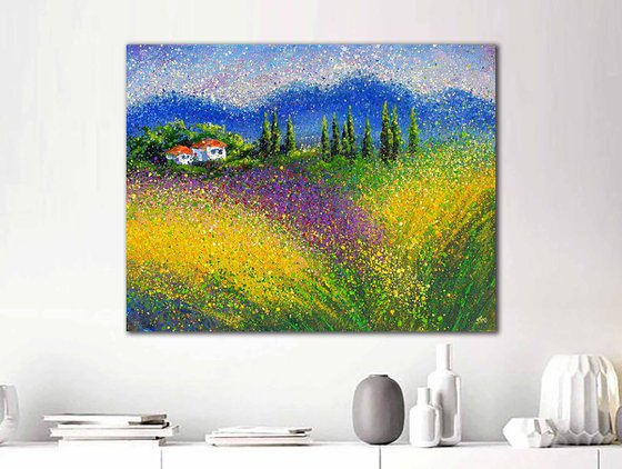 """Large lavender landscape painting Italy scenery Modern lavender fields  - READY TO HANG - 27"""" x 35"""" / 70 x 90 cm."""