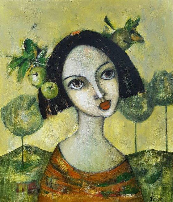 Apple girl (60x70cm, acrylic on canvas, ready to hang)