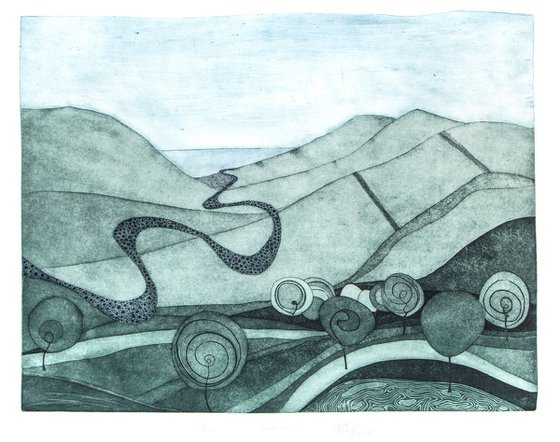 """Heike Roesel """"Towards the Sea"""", fine art etching, edition of 20 in variation"""