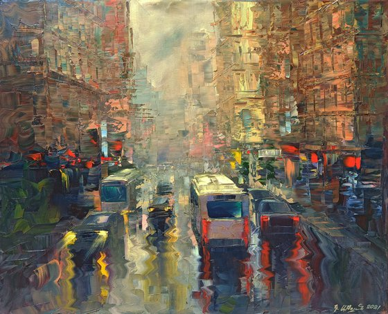 After rain (60x70cm, oil painting, ready to hang)