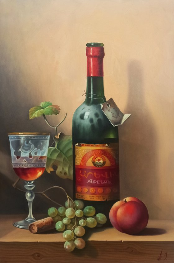 Still life with cup of cognac-2  (40x60cm, oil painting, ready to hang)