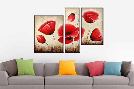 Red Poppies(40x50 20x60 30x50cm, acrylic painting, ready to hang)