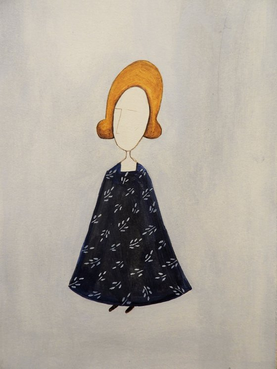 The blond woman in blue - oil on paper