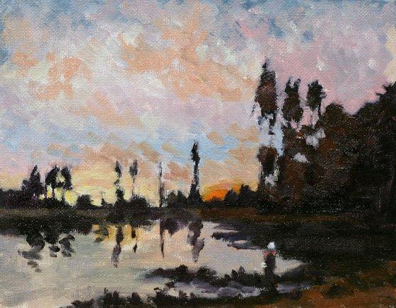 "copy of Daubigny painting ""Soleil couchant sur l'Oise/Setting Sun on the Oise"""
