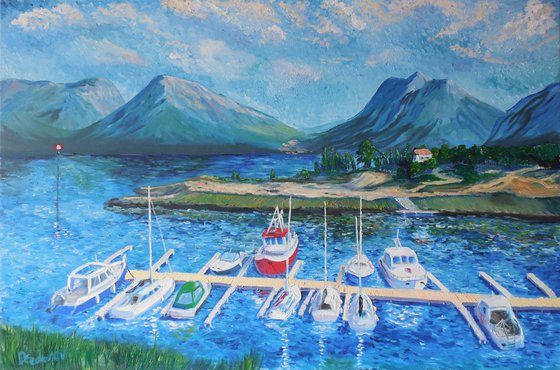 Port and mountain landscape. Large painting
