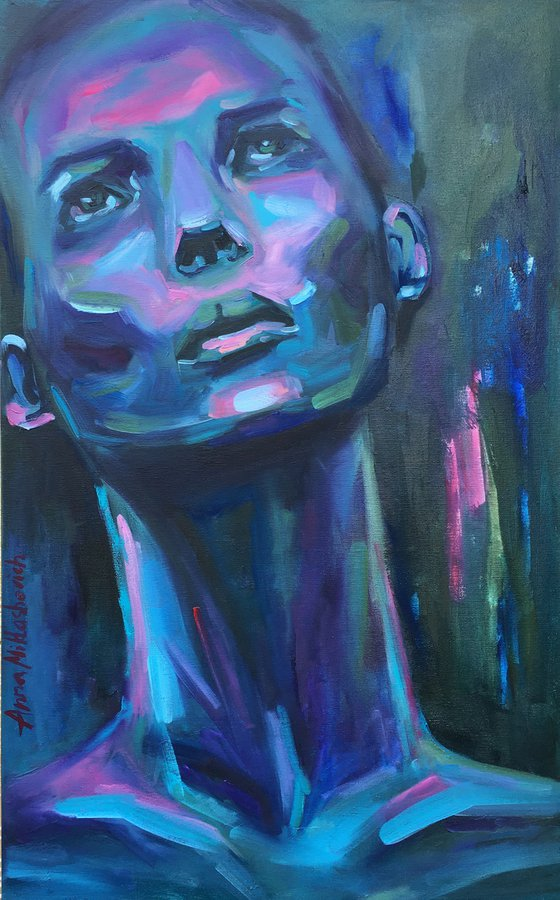 GRATITUDE - Expressionist large modern woman wall art, Contemporary female figurative oil painting on canvas