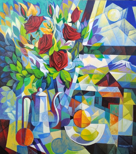 Still life with roses (80x90cm, cubism, oil painting, ready to hang)
