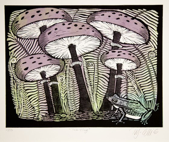 The King, 2 plate linocut