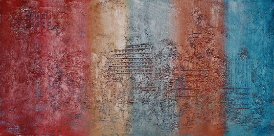 Abstract,blue, brown, red, yellow,christmas sale 550 USD now 445 USD.