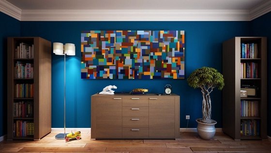 """Rectangles  _ Large Abstract_150x70cm (59""""x27.5"""")"""