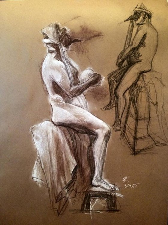 Custom Figure Study- Sitting Nude Man