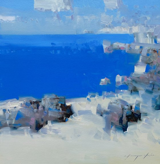 Bay Cliffs, Original oil painting, Handmade artwork, One of a kind