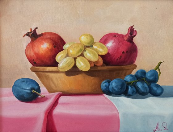 Still life with pomegranates and grapes (24x30cm, oil painting, ready to hang)