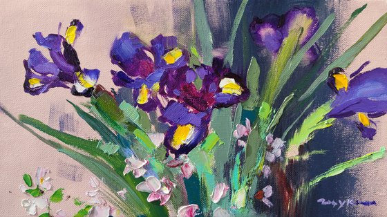 Irises and cherry blossoms. Bouquet sketch. Original oil painting