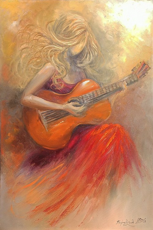 Guitarist(60x90cm,   oil painting, ready to hang)