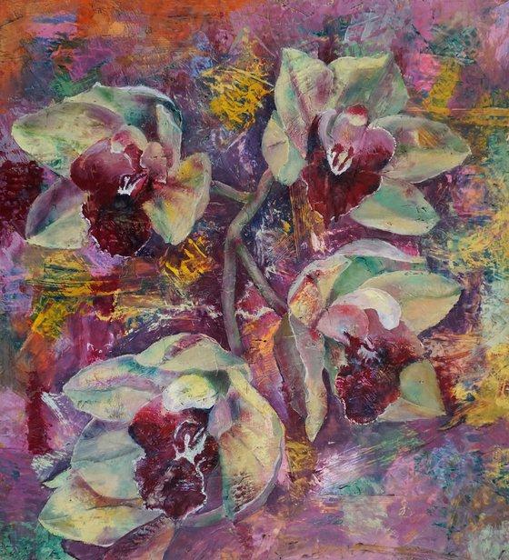 Orchid I. (hot wax on OSB)