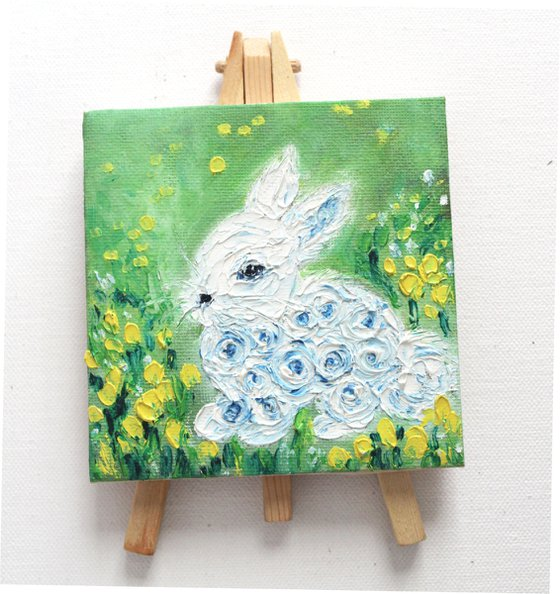 Life is beautiful - Oil painting on a mini canvas - textured artwork - table decor gift - palette knife painting - Easter - special bunny - cute rabbit - animal art - nursery decor - kids room decor