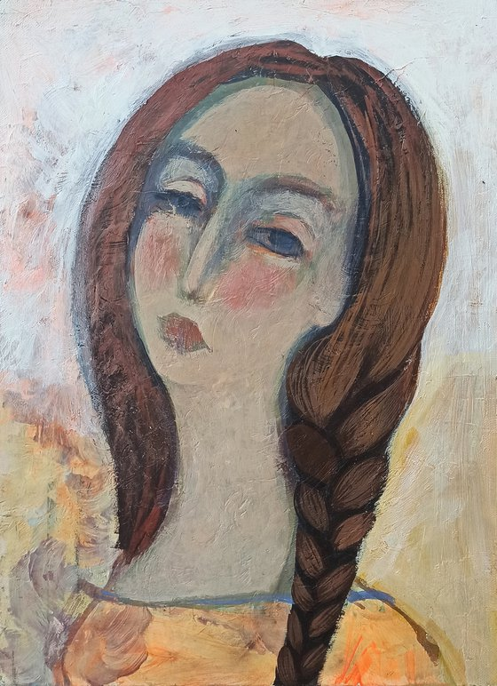 Girl portrait (30x40cm, oil/canvas, ready to hang)