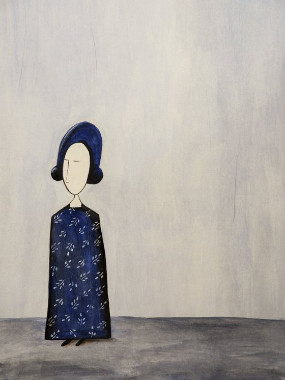 The Lady in blue 2- oil on paper