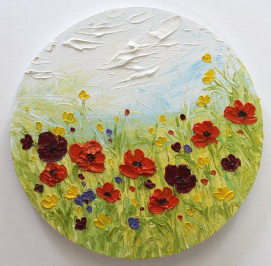 Happiness - Floral impasto spring field oil painting on canvas- textured artwork- ready to hang