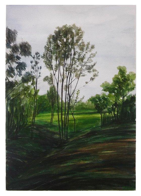 Landscape painting, original watercolor painting