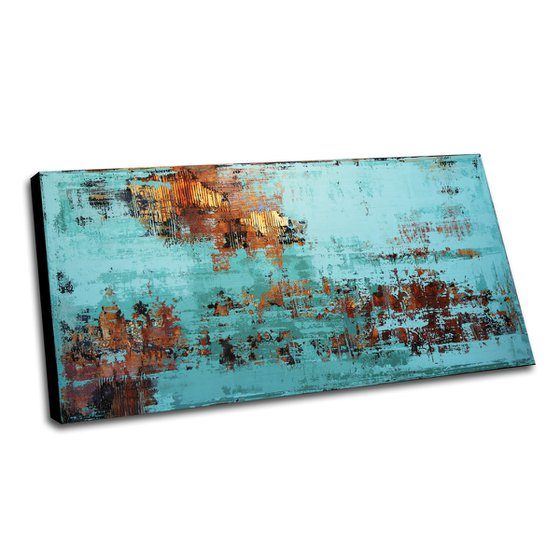 ATLANTIS - LARGE ABSTRACT PAINTING * TURQUOISE * RUST * TEXTURED