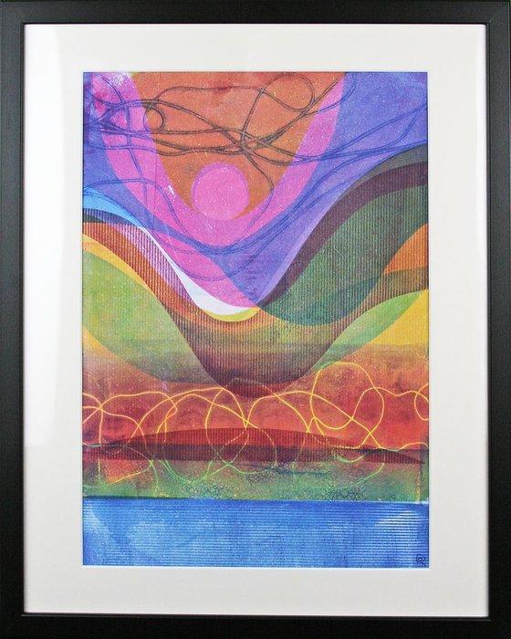 "Dusk Shore - Framed 50cm (20"") x 40 cm (16"") Original Signed Monotype"