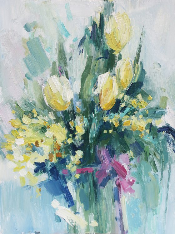 OIL PAINTING Flowers Yellow Bouquet Still life Tulip Tulips